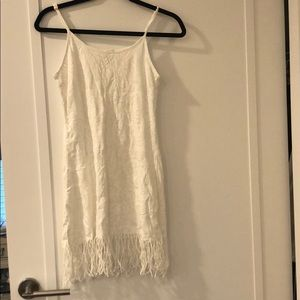 Beach/pool white coverup with fringes